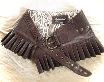 Brown  leather steampunk leather mini skirt wrap around leather  steampunk skirt