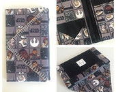 Star Wars Clutch - Gray and Black - Large Wallet - Traveling Clutch - Silver Hand Stitched Edging