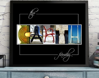 Name Art * Wedding & Anniversary Gift * Framed or Print *  Personalized Name Sign * Letter Art * Alphabet Art * Free Shipping - Free Proof