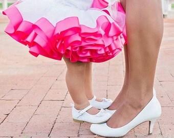 White And Hot Pink Ribbon Trimmed Tutu - Infant Tutu - Toddler Tutu - Birthday Tutu - Princess Tutu - Pageant Tutu - Pink And White Tutu