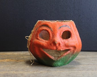 Vintage Paper Mache Pumpkin // Happy Face // Autumn Decor // Halloween Decor