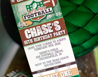 "Diy Personalized Vintage Football Sport's Ticket Birthday Party Digital Printable 8.5x11"" Invitation"
