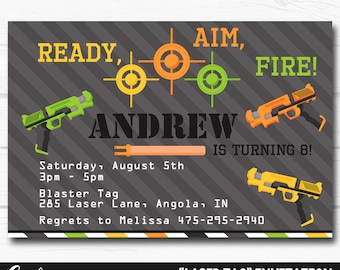 "Personalized Gun ""Laser Tag"" Nerf Boys Birthday Party Digital Printable 4""x6"" or 5""x7"" Invitation"