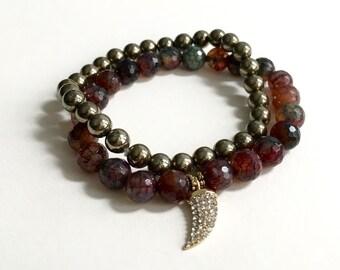 Gemstone stacking bracelet with crystal pave horn tusk charm, pyrite beaded bracelet (Set of 2 bracelets)