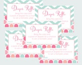 Shabby Chic Diaper Raffle Insert, Game Card Girls Baby Shower, Raffle, Mint and Coral, Pamper Insert, Printable Card, Instant Download(SCC)