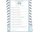 Elephant Baby Shower Wishes for Baby Blue Printable File Advice Boys Instant Download Mom Keepsake Grey Chevron Stripe Fun Casual Sprinkle