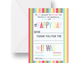 Birthday Thank You Cards - Flat Fill-In Stationery - Girls Happy Day Party - 4 x 6 - Set of 15 - Colorful Party Printed Card with Envelopes