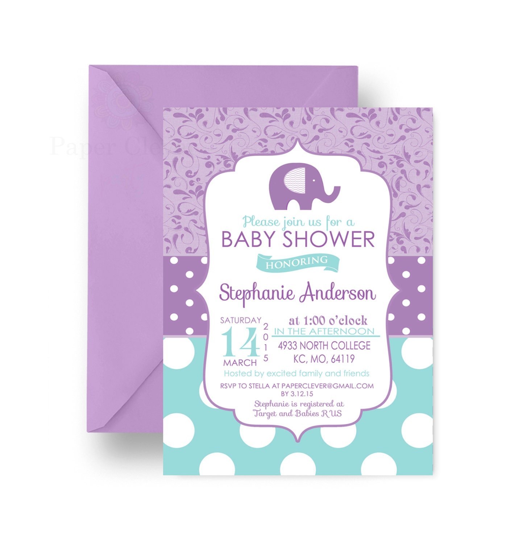 purple elephant baby shower invitation girls charming