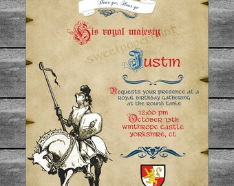 Medieval Knight Birthday Party Invitation - Vintage - Blue Boy's Castles - Customizable printable card cards digital printable