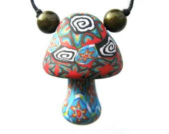 Tribal mushroom pendant, millefiori starburst and spiral designs, handmade from polymer clay, mushroom necklace with tribal patterns, OOAK