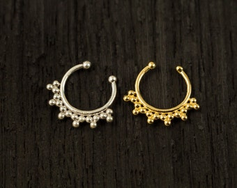 Sterling silver Fake Septum Ring, Gold plated Septum Ring,Clip On Septum (F4)