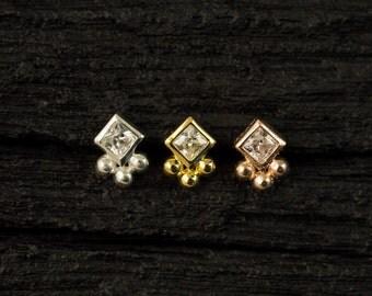 Square Cubic Zirconia bazel set with trinity balls push in 16gauge bio flexible Tragus / lip labret / cartilage/ helix / Monroe