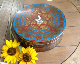 Gorgeous Chippy Shabby Hostess Fruit Cake Tin Red Blue and Gold