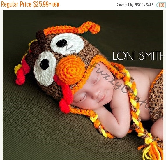 SALE Baby  Earflap Turkey Hat - Crochet Newborn Beanie Boy Girl Costume Winter Thanksgiving Christmas Photo Prop Cap Outfit