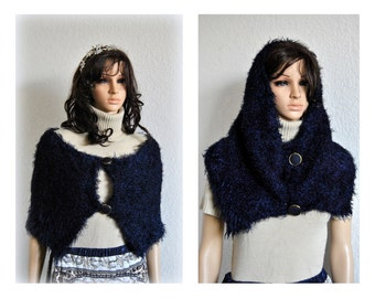 Hand-Knitted Shearling Wrap, Chunky Scarf, Silk Cover up, Dark Blue Shawl, Topper Women Clothing Accessories