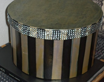 Hollywood Glam Bling Hat Box Old Paris French Style Black and Silver Stripe Old French Script Writing