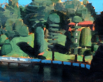 Topiary Gardens, Lake Waban, Wellesley MA (no.126) Oil Painting Realism 2016