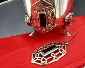 Vintage Sterling Silver Black Onyx Earrings, Silver Drop Earrings, Black Onyx Earrings, Celtic  Silver Earrings