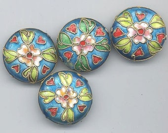 Five cloisonne beads - rich royal blue background with flower and leaves - 24 mm flattened rounds