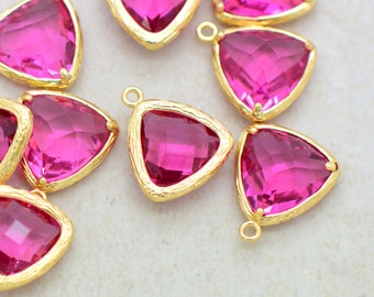 Wholesale Lot - Triangle Jewel Charms ROSE Faceted Glass 24k GOLD Plated Setting Drop Gem Jewels 14mm Triangle Bezel Bright Pink Stone ()