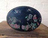 Vintage Tin - Black with blossoms & birds