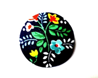 Navy Spring Floral Covered Button Badge