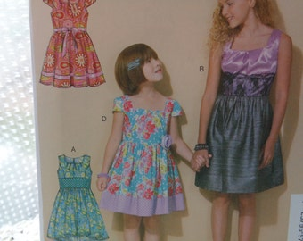 Kids Sewing Pattern McCalls M7310 7310 Girls Party Dress Size 7 8 10 12 14 UNCUT