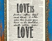 Love is Love Equality Everywhere Original Verse Print on Unframed Upcycled Bookpage