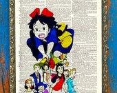 Kiki's Delivery Service Studio Ghibli Print on an Antique Unframed Upcycled Bookpage