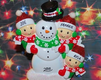 Personalized Family of 3 Building Snowman with Optional Pet Christmas Ornament