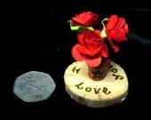 Handmade Pagan / Gothic Valentine Love Amulet. Roses in Miniature pot with pentacle.. Sacred Avebury Beech Tree keepsake
