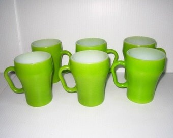 Vintage Fire King Anchor Hocking Lime Green Mugs