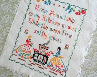 Unframed Embroidered Wall Hanging, Handmade Needlework Panel for Framing, Kitchen Picture, Vintage Linens by TheSweetBasilShoppe