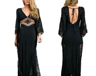 Maxi Boho Lace Dress Sheer Chiffon Crochet Gypsy Festival Black Plunging Neckline Hippie Bell Sleeve Open Back Wedding Bridal S M L XL