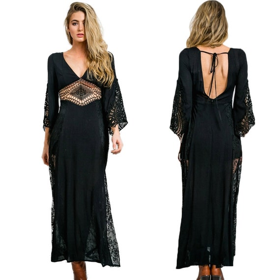Maxi Boho Lace Dress Sheer Chiffon Crochet Gypsy Festival Black Plunging Neckline Hippie Bell Sleeve Open Back Wedding Bridal S M L XL