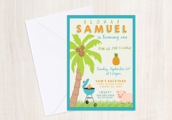 BBQ Luau Party Birthday Invite - Luau Party Invitation - Hawaiian BBQ Party  - Party Supplies
