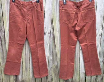 Vintage 70's Bell Bottoms Flares Pants Jeans size M brown