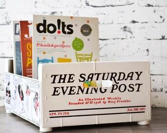 Magazine rack - desk organizer - storage box - handmade - recycled - wooden crate - Saturday evening post cover