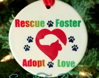 Rescue dog and cat ornament, animal rescue, dog rescue, Cat rescue, dog ornament, Cat ornament