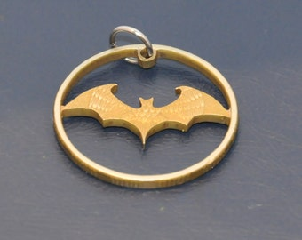 Halloween bat. Brown antique. Cut coin pendant necklace charm. Coincut jewelry by invicia.