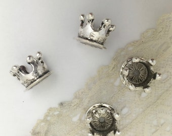 4 crown  bead caps  in antique silver