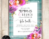 Mimosas and Brunch Bridal Shower Invitation Teal Wood Purple Watercolor Flowers - I Design - You Print