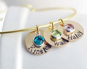 Personalized Hand Stamped Bangle Bracelet - Gift for Mom / Mothers Day Gift / Personalized Gift / Name Bracelet / Mothers Jewelry