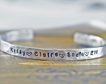 Custom Cuff Bracelet, Personalized Bracelet, Mothers Bracelet, Mommy Jewelry, Bracelet Childrens Names, Gift Idea for Mom, Kids Names