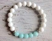 aqua jade bracelet, mermaid jewelry, crystal bracelet, beachcomber bohemian bracelet