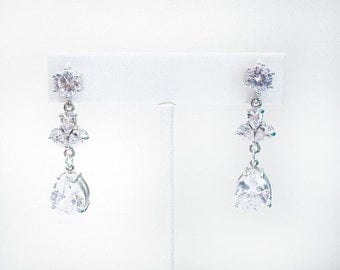 Bridal silver dangle earrings