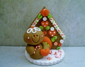 Miniature Gingerbread House - Gingerbread Man - Polymer Clay - Holiday - Figurine