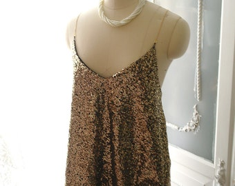 French Mademoiselle Chic Gold Chain Sequins Camisole Tank Top Bling Bling Club Party Blouse