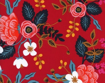 Les Fleurs - Birch Floral in Enamel -RAYON - Anna Bond for Cotton + Steel - 8008-35- 1/2 yd
