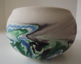 Vintage Nemadji, Pottery Bowl, Marbelized Blue Green & Black Swirl, Souvenir Ceramic, Made in Minnesota, Tourist Item